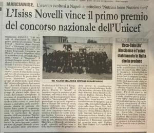 Articolo ISISS Novelli vince premio Unicef